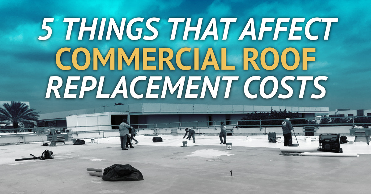 a flat roof with the caption 5 Things That Affect Commercial Roof Replacement Costs