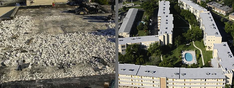 Commercial Roof Replacement Before & After Ft Lauderdale
